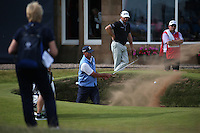 Matt Kuchar (USA) out of the bunker on the last during Round One of the 145th Open Championship, played at Royal Troon Golf Club, Troon, Scotland. 14/07/2016. Picture: David Lloyd | Golffile.<br /> <br /> All photos usage must carry mandatory copyright credit (&copy; Golffile | David Lloyd)