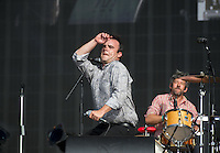 Frontman Samuel T Herring of Future Islands dances during British Summertime Music Festival at Hyde Park, London, England on 18 June 2015. Photo by Andy Rowland.