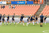 Houston, TX - Saturday July 15, 2017: Washington Spirit  warming up during a regular season National Women's Soccer League (NWSL) match between the Houston Dash and the Washington Spirit at BBVA Compass Stadium.