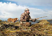 Outdoor Life Editor John Snow while hunting in Cold Bay, Alaska, Thursday, November 3, 2016. The Izembek National Wildlife Refuge lies on the northwest coastal side of central Aleutians East Borough along the Bering Sea and Cold Bay. Birds hunted include the long tailed duck, the Steller's Eider, the Harlequin, the King Eider and Brant.<br /> <br /> <br /> Photo by Matt Nager