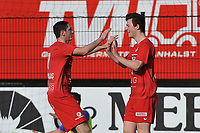 FC GULLEGEM - SK LONDERZEEL :<br /> Lennart Sampers (R) viert zijn openingsdoelpunt met Lionel Vanleynseele (R)<br /> <br /> Foto VDB / Bart Vandenbroucke