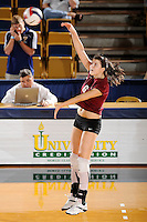 20 November 2008:  UALR libero Anita Bucur (6) attempts a kill shot during the New Orleans 3-1 victory over UALR in the first round of the Sun Belt Conference Championship tournament at FIU Stadium in Miami, Florida.