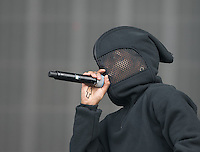 KID INK starts his performance with a cover face during The New Look Wireless Festival at Finsbury Park, London, England on 28 June 2015. Photo by Andy Rowland.
