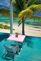 Table at The Conch Shack. Providenciales. Turks and Caicos.