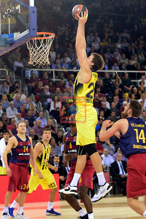 Turkish Airlines Euroleague 2016/2017.<br /> Regular Season - Round 2.<br /> FC Barcelona Lassa vs Fenerbahce Istanbul: 72-73.<br /> Jan Vesely vs Aleksandar Vezenkov.