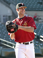 May 28, 2004:  Catcher Joe Mauer (7) of the Rochester Red Wings, Triple-A International League affiliate of the Minnesota Twins, during a game at Frontier Field in Rochester, NY.  Photo by:  Mike Janes/Four Seam Images