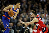 17th January 2019, The O2 Arena, London, England; NBA London Game, Washington Wizards versus New York Knicks; Kevin Knox of the New York Knicks is guarded by Tomas Satoransky of the Washington Wizards
