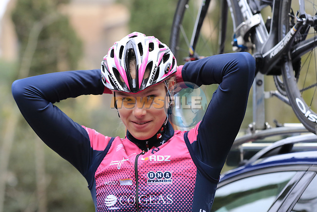 Bepink Cogeas riders at sign on before the start of the Ladies 2017 Strade Bianche running 127km from Siena to Siena, Tuscany, Italy 4th March 2017.<br /> Picture: Eoin Clarke | Newsfile<br /> <br /> <br /> All photos usage must carry mandatory copyright credit (&copy; Newsfile | Eoin Clarke)