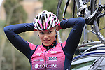Bepink Cogeas riders at sign on before the start of the Ladies 2017 Strade Bianche running 127km from Siena to Siena, Tuscany, Italy 4th March 2017.<br /> Picture: Eoin Clarke   Newsfile<br /> <br /> <br /> All photos usage must carry mandatory copyright credit (&copy; Newsfile   Eoin Clarke)