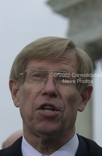 Attorney Ted Olson, counsel for the Republican Party nominee for President of the United States, Governor George W. Bush (Republican of Texas), speaks to reporters after pleading before the United States Supreme Court in Washington, DC on the Florida Vote Recount case on December 11, 2000.<br /> Credit: Ron Sachs - CNP