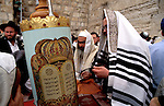 Israel, Jerusalem Old City. The Priestly Blessing ceremony at Passover at the Western Wall<br />