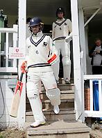 Heino Kuhn (L) and Zak Crawley enter the field of play during the friendly game between Kent CCC and Surrey at the St Lawrence Ground, Canterbury, on Friday Apr 6, 2018