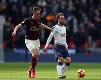 Christian Eriksen of Tottenham Hotspur and Sean Longstaff of Newcastle United during Tottenham Hotspur vs Newcastle United, Premier League Football at Wembley Stadium on 2nd February 2019