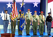 New York, NY - August  30, 2004 --  Presentation of the colors by the Greater New York Council of Boys Scouts Troop 520 and Law Enforcement NYPD Transit Bureau Explorers Post 5233 at the 2004 Republican National Convention in New York on August 30, 2004..Credit: Ron Sachs / CNP  .(RESTRICTION: No New York Metro or other Newspapers within a 75 mile radius of New York City)