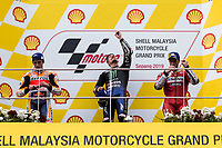 3rd November 2019; Sepang Circuit, Sepang Malaysia; MotoGP Malaysia, Race Day; Winner Maverick Vinales, Marc Marquez and Andrea Dovizioso pay tribute to Asia Talent Cup rider Afridza Munandar who died in an accident earlier in the weekend - Editorial Use