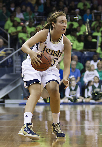December 29, 2012:  Notre Dame guard Michaela Mabrey (23) dribbles the ball during NCAA Women's Basketball game action between the Notre Dame Fighting Irish and the Purdue Boilermakers at Purcell Pavilion at the Joyce Center in South Bend, Indiana.  Notre Dame defeated Purdue 74-47.