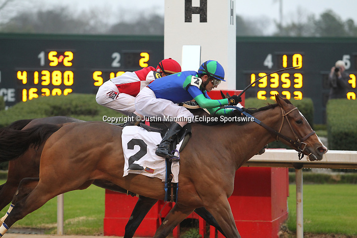 February 17, 2020: Go Google Yourself (2) with jockey Brian Hernandez Jr. aboard crossing the finish line in the Bayakoa Stakes at Oaklawn Racing Casino Resort in Hot Springs, Arkansas on Feburary 17, 2020. Justin Manning/Eclipse Sportswire/CSM
