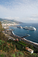 Spain, Canary Islands, La Palma, Santa Cruz de La Palma: capital - two cruise ships at harbour
