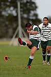 Manurewa halfback R. Koroi  kicks for goal.  Counties Manukau Premier Club Rugby, Ardmore Marist vs Manurewa played at Bruce Pulman Park, Papakura on the 10th of June 2006. Ardmore Maris won 18 - 11.