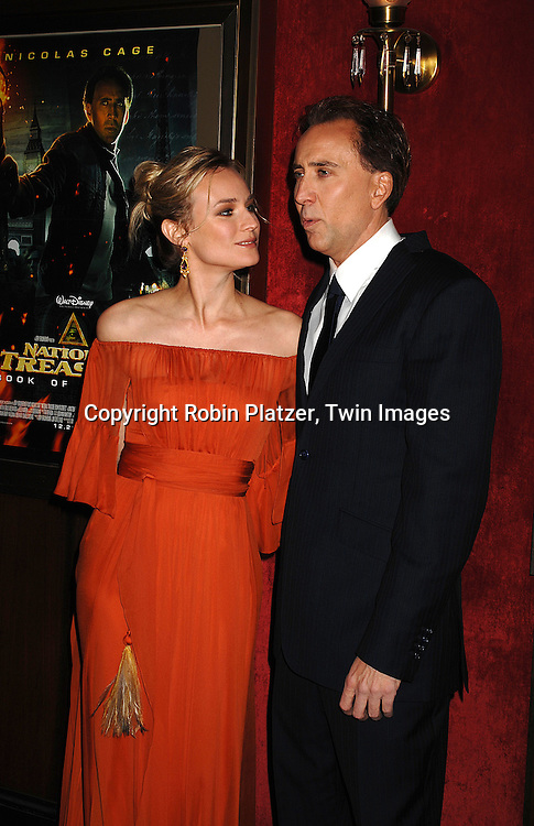 """Co Stars of the movie Diane Kruger and Nicolas Cage.arriving to The World Premiere of """"National Treasure: Book of Secrets"""" on December 13, 2007 at The Ziegfeld Theatre. .Robin Platzer, Twin Images"""