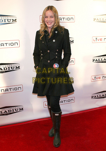 ABBY CORNISH.Grand Re-Opening of the Hollywood Palladium operated by Live Nation which underwent a year-long makeover held at the Hollywood Palladium, Hollywood, California, USA, .15 October 2008..full length black coat Hunter wellington boots wellies Abbie Abbey.CAP/ADM/TC.©T Conrad/Admedia/Capital PIctures