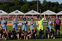 Sky Blue FC goalkeeper Jenni Branam (23) is introduced prior to the start of the match. The Western New York Flash defeated Sky Blue FC 4-1 during a Women's Professional Soccer (WPS) match at Yurcak Field in Piscataway, NJ, on July 30, 2011.