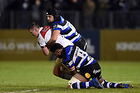 Tommy Reffell of Leicester Tigers is double-tackled. Anglo-Welsh Cup match, between Bath Rugby and Leicester Tigers on November 10, 2017 at the Recreation Ground in Bath, England. Photo by: Patrick Khachfe / Onside Images