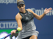 7th September 2017, Flushing Meadows, New York, USA;   Madison Keys (USA) in action during her women's singles semi-final of the US Open on September 07, 2017 at the Billie Jean King National Tennis Center in Flushing Meadow, NY.