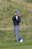 6th October 2017, Carnoustie Golf Links, Carnoustie, Scotland; Alfred Dunhill Links Championship, second round; Actor Jamie Dornan plays from the rough on the second hole on the Championship Links, Carnoustie during the second round at the Alfred Dunhill Links Championship