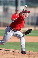 Los Angeles Angels minor league pitcher Austin Adams #52 during an instructional league game against the Arizona Diamondbacks at the Tempe Diablo Minor League Complex on October 1, 2012 in Tempe, Arizona.  (Mike Janes/Four Seam Images)