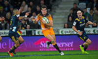 Jaguares' Emiliano Boffelli prepares to fend off Aaron Smith (left) during the Super Rugby match between the Highlanders and Jaguares at Forsyth Barr Stadium in Dunedin, New Zealand on Saturday, 11 May 2019. Photo: Dave Lintott / lintottphoto.co.nz