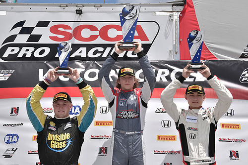 2017 F4 US Championship<br /> Rounds 1-2-3<br /> Homestead-Miami Speedway, Homestead, FL USA<br /> Sunday 9 April 2017<br /> Race #2 winner Raphael Forcier with second place Timo Reger and third place Ben Waddell.<br /> World Copyright: Dan R. Boyd/LAT Images