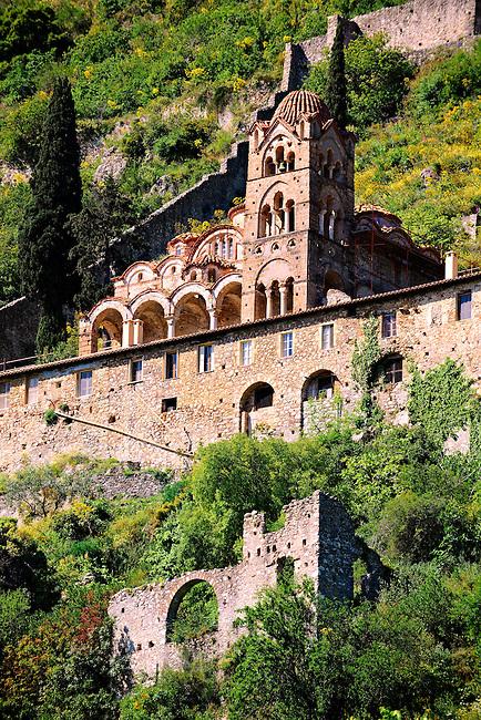 Exterior of the Byzantine Othodox monastery of Pantanassa ,  Mystras ,  Sparta, the Peloponnese, Greece. A UNESCO World Heritage Site