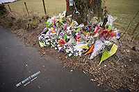 Flowers at the scene of a fatal road accident..©shoutpictures.com..john@shoutpictures.com
