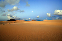 Moon over dunes at Corralejo, Fuerteventura, Canary Islands, Spain