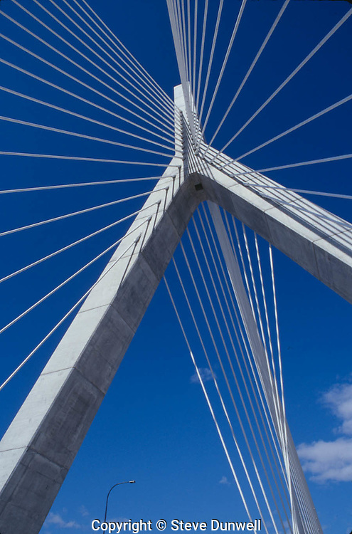 Zakim Bridge tower blue sky, Boston