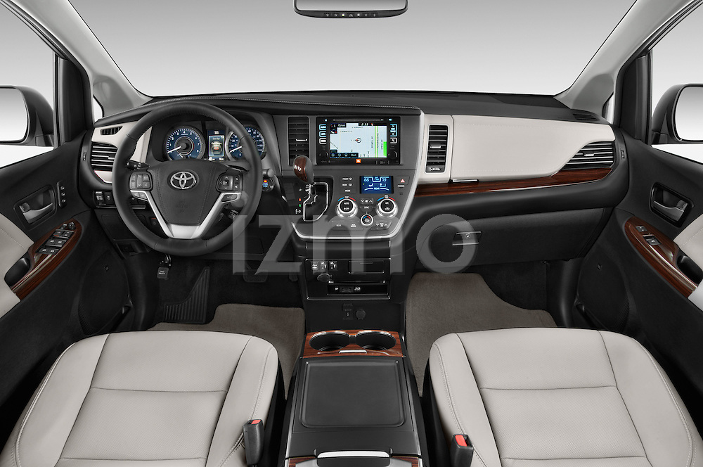 Stock photo of straight dashboard view of2015 Toyota Sienna Limited V6 8-Passenger 5 Door Mini Van Dashboard