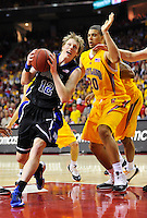 Kyle Singler of the Blue Devils looks to score from inside the paint against Terrapins' Jordan Williams. Maryland defeated Duke 79-72 at the Comcast Center in College Park, MD on Wednesday, March 3, 2010. Alan P. Santos/DC Sports Box