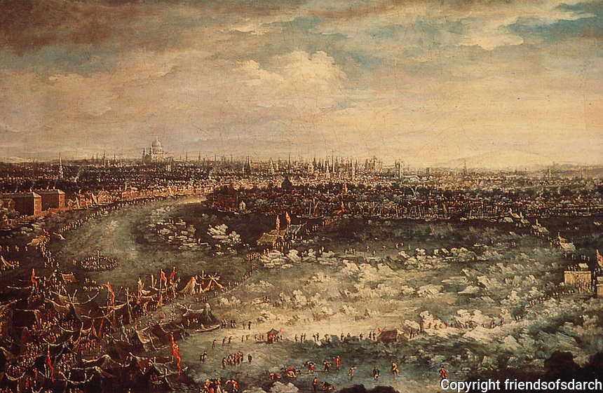 "London:   ""Frost Fair on the Thames"" by Jan Griffier the Younger, 1739. Guildhall Art Gallery.  Reference only."