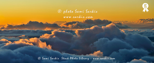 Above cloudscape at sunset, panoramic view (Licence this image exclusively with Getty: http://www.gettyimages.com/detail/84430553 )