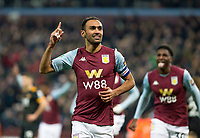 30th October 2019; Villa Park, Birmingham, Midlands, England; English Football League Cup, Carabao Cup, Aston Villa versus Wolverhampton Wanderers; Ahmed El Monhamady of Aston Villa with his finger in the air as he celebrates scoring to take the lead 2-1 in the 57th minute - Strictly Editorial Use Only. No use with unauthorized audio, video, data, fixture lists, club/league logos or 'live' services. Online in-match use limited to 120 images, no video emulation. No use in betting, games or single club/league/player publications