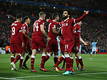 Mohamed Salah of Liverpool receives the fans acclaim after scoring the first goal during the Champions League Quarter Final 1st Leg, match at Anfield Stadium, Liverpool. Picture date: 4th April 2018. Picture credit should read: Simon Bellis/Sportimage