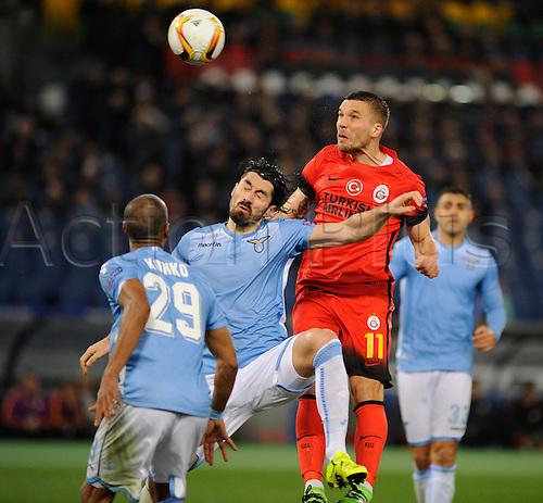 25.02.2016. Stadio Olimpico, Rome, Italy. Uefa Europa League, Return leg of SS Lazio versus Galatasaray. Lukas Podolski wins the header