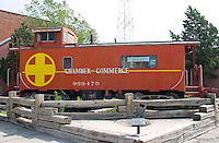 The Boise City Chamber of Commerce is located inside an old caboose.