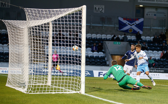 05.09.2019 Scotland u-21 v San Marino, European u-21 Championship 2021 Qualifying Round: Alessandro Tosi scores an own goal