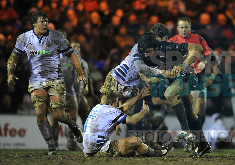 Sebastien Chabal of Sale Sharks runs into Bath defence