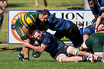 Michael Porter fails to hold on to the ball as Kieran Whyte and Ben Young make the tackle. Counties Manukau Club Rugby game between Pukekohe and Onewhero played at Colin Lawrie Fields Pukekohe on Saturday 19th March 2011..Pukekohe won 37 - 8.