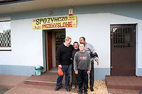 Friends outside of the store in Poland.  Sadykierz  Poland