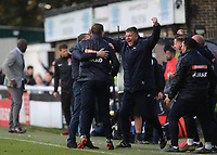 Dover Manager, Andy Hessenthaler celebrates with his coaching team at the final whistle during Dover Athletic vs Southend United, Emirates FA Cup Football at the Crabble Athletic Ground on 10th November 2019