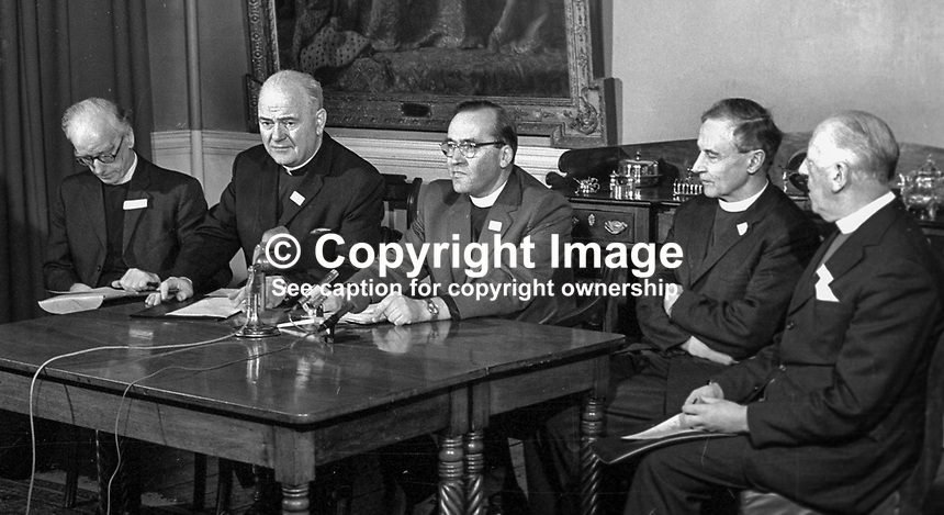 N Ireland church leaders report back after the Feakle Peace Talks which they had with the Provisional IRA in the Co Clare Village on 12th December 1974. Taking part in the press conference (from left) are: Rev Harold Sloane, president, Methodist Church, Cardinal Conway, Roman Catholic Church, Rev Jack Weir, Presbyterian Church, Archbishop George Otto Simms, Church of Ireland, and Rt Rev George Temple Lundie, Presbyterian Moderator. 197501030011a.<br /> <br /> Copyright Image from Victor Patterson, 54 Dorchester Park, Belfast, UK, BT9 6RJ<br /> <br /> t1: +44 28 9066 1296 (from Rep of Ireland 048 9066 1296)<br /> t2: +44 28 9002 2446 (from Rep of Ireland 048 9002 2446)<br /> m: +44 7802 353836<br /> <br /> e1: victorpatterson@me.com<br /> e2: victorpatterson@gmail.com<br /> <br /> www.victorpatterson.com<br /> <br /> IMPORTANT: Please see my Terms and Conditions of Use at www.victorpatterson.com